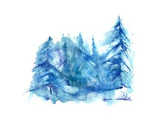 Watercolor group of trees - fir, pine, cedar, fir-tree. Blue, winter forest, landscape, forest landscape. Winter handmade drawing.