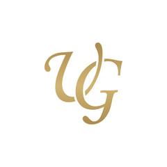 Initial letter UG, overlapping elegant monogram logo, luxury golden color