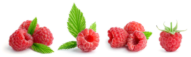 Collection of sweet raspberries