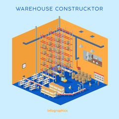 Warehouse kit. Build your own infographics illustration. Flat isometric creative modern warehouse with forklift and workers.