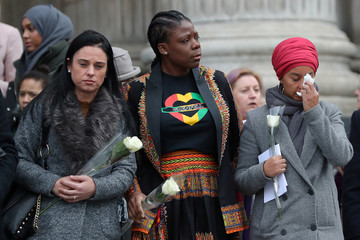 Mourners pay their respects outside St Paul's Cathedral after a memorial service in honour of the victims of the Grenfell Tower fire, in London