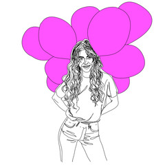 Illustration,young woman with pink baloons.