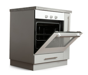 Kitchen cabinet with oven on white background