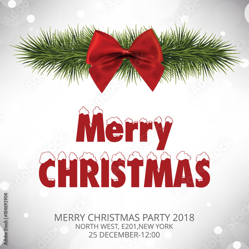 Christmas Invitation Card With Red Bow Stock Image And