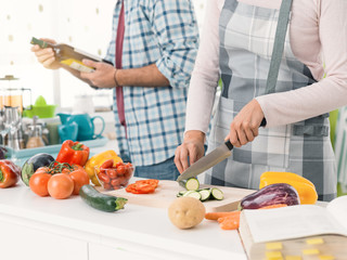 Couple preparing lunch together at home