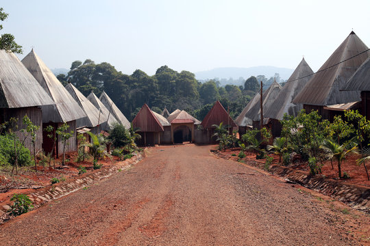 Typical houses at Batoufam Kingdom, North Cameroon, Africa