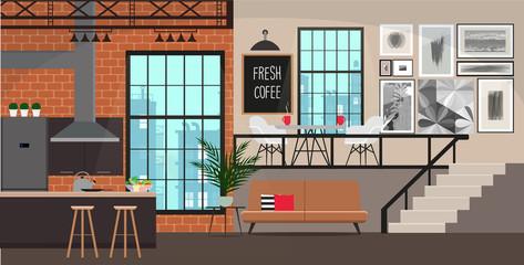 Interior design in loft style. Studio apartment.