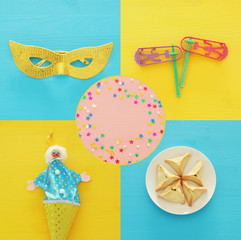 Collage of Purim celebration concept (jewish carnival holiday). Top view.