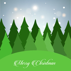 Christmas card with tree and glitters vector