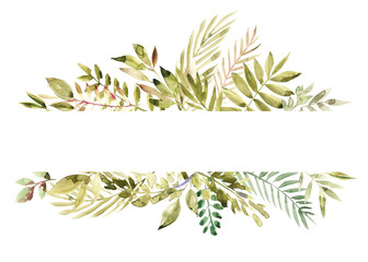 Watercolor hand painted green floral banner isolated on white background. Healing Herbs for cards, wedding invitation, posters, save the date or greeting design.