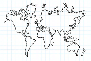 Hand drawn flat world map. Isolated and real pen sketch. Vector Illustration