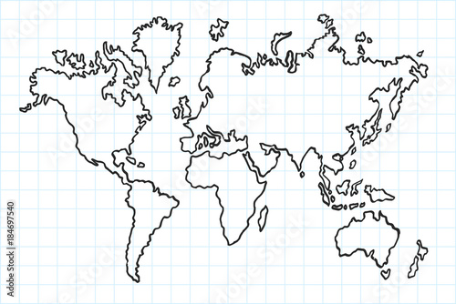 Hand Drawn Map Of The World.Hand Drawn Flat World Map Isolated And Real Pen Sketch Vector
