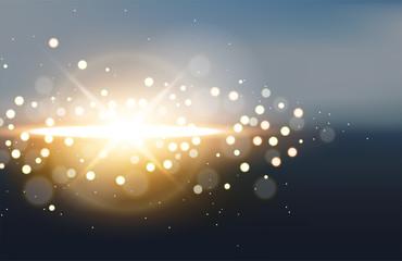 Golden light with flare on blurred landscape background. Vector Illustration
