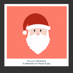 Christmas card with santa clause and pattern background