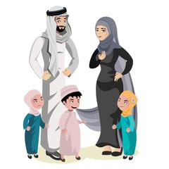 Muslim Family Cartoon Character