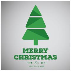 Christmas greetings card with tree