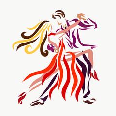Man and woman dancing tango, creative