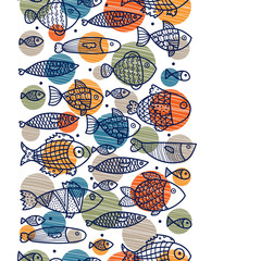 Vertical seamless border with the fishes.