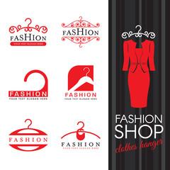 Fashion shop logo - Red clothes hanger logo sign vector set design