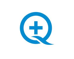Unique Initial Letter Q with Plus Hospital Symbol Logo Modern