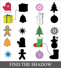 Find the correct shadow. Shadow matching game for children. Christmas (new year) icons.