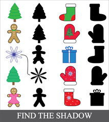 Kids game. Find the shadow. Christmas (new year) icons, vector.