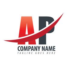 Initial Letter AP Overlapping Design Logo