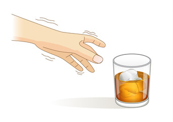 A Hand have tremor symptom while reaching for a glass of liqueur. Illustration about loss of control of body balance.