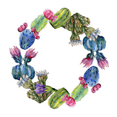 Wildflower cactus flower wreath in a watercolor style. Full name of the plant: cactus. Aquarelle wild flower for background, texture, wrapper pattern, frame or border.