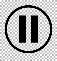 Pause sign. Dark gray icon on transparent background. Pause icon.
