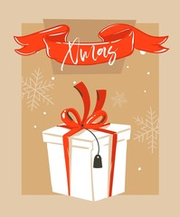 Hand drawn vector abstract fun Merry Christmas time cartoon illustration greeting card with big white surprise gift box and Merry Xmas typography isolated on craft paper background