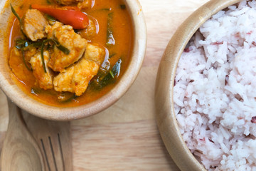 Panaeng curry with pork or red curry with pork