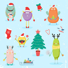 Collection of hand drawn cute funny cartoon monsters in Santa hats, with presents, Christmas tree. Isolated flat objects. Vector illustration. Design concept for children, winter holidays, New Year.