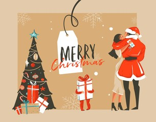 Hand drawn vector abstract fun Merry Christmas time cartoon illustration with romantic couple who kissing and hugging,xmas tree,little child with gift and typography isolated on craft background