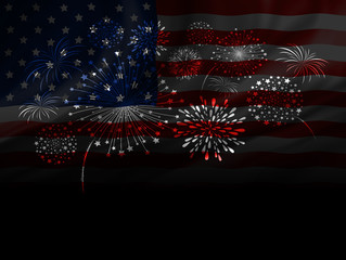 Firework design of USA flag on black background