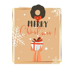 Hand drawn vector abstract Merry Christmas and Happy New Year time retro cartoon illustrations greeting card with people hands who holding surprise gift box and mistletoe isolated on white background