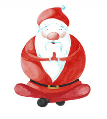 Cartoon Santa Claus in one of the poses of yoga.  Painted watercolor isolated on white background. Postcard for Christmas and New Year.