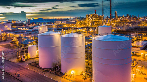 Aerial view oil terminal is industrial facility for storage of oil