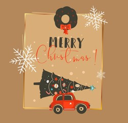 Hand drawn vector abstract Merry Christmas and Happy New Year time vintage cartoon illustrations greeting card template with car and decorated xmas tree isolated on craft paper background