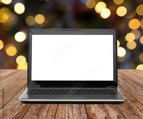 laptop with white screen over christmas lights - Laptop With White Screen Over Christmas Lights
