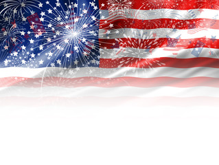 Firework design of USA flag on white background