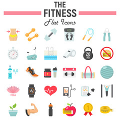 Fitness flat icon set, sport symbols collection, vector sketches, logo illustrations, healthy diet signs colorful solid pictograms package isolated on white background, eps 10.