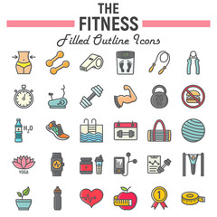 Fitness filled outline icon set, sport symbols collection, vector sketches, logo illustrations, healthy diet signs colorful line pictograms package isolated on white background, eps 10.