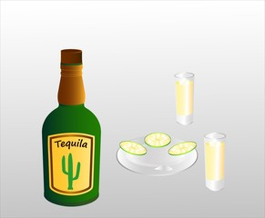 A bottle of a Mexican alcoholic tequila drink, two filled glasses and lime slices on a plate. The shape of the bottle and the label are invented. Vector illustration.