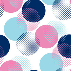 Modern geometry pink and blue polka dot seamless pattern Vector illustration for background, decoration, surface design.