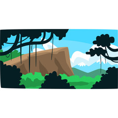 Tropical jungle, greenwood background with leaves, bushes and trees, tropical rainforest scenery in a vector illustration