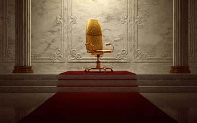 Bürostuhl als Thron