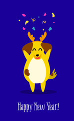 Funny yellow dog with cute horns and confetti on blue background. Flat style. Vector New Year card.