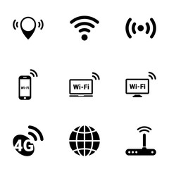 Set of simple icons on a theme Wi-fi , vector, design, collection, flat, sign, symbol,element, object, illustration, isolated. White background
