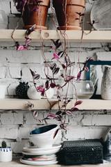 Handmade ceramic objects in pottery studio